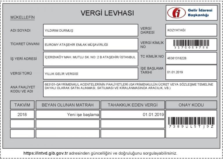 YILDIRIM DURMUS VERGI LEVHASI 2019